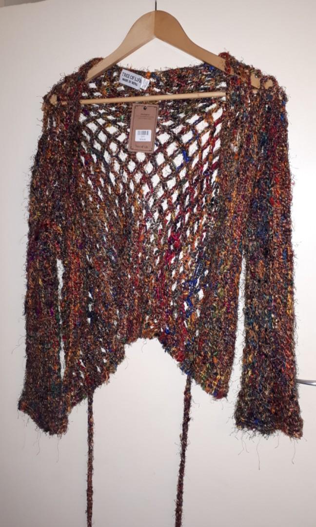 Multi coloured crochet Tree of Life cardigan brand new free size