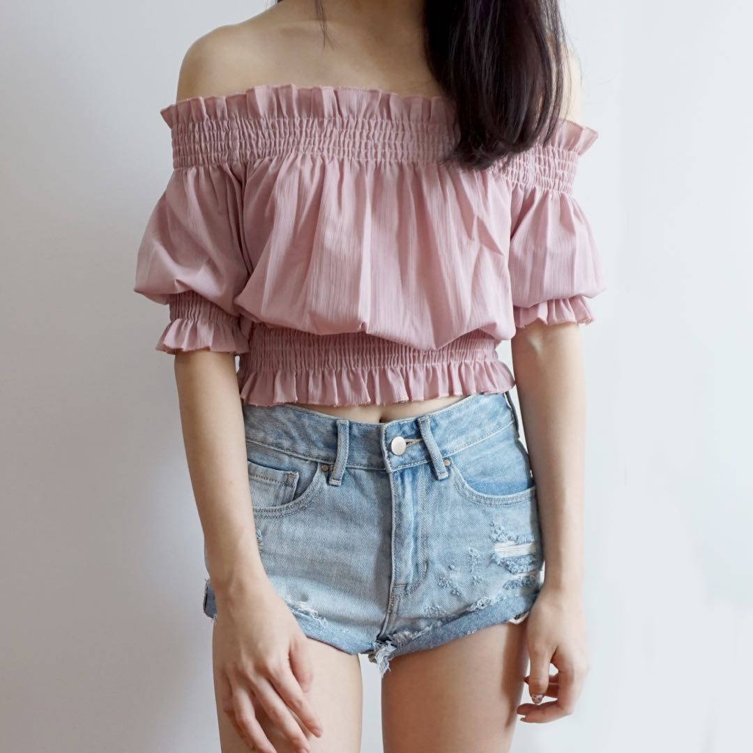 d5eaf1d340e26 Off Shoulder Crop Top (Blush Pink)
