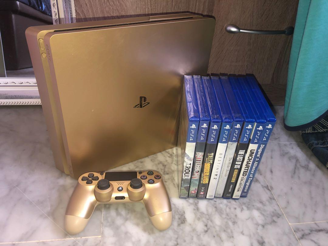 Ps4 Gold Slim with Games, Toys & Games, Video Gaming