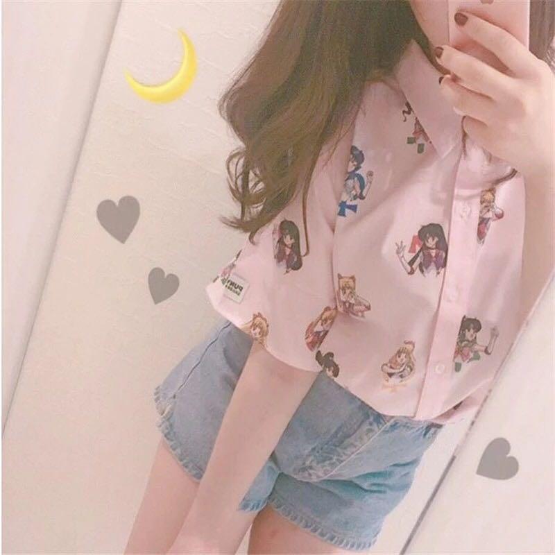 Sailor Moon Pink Short Sleeve Shirts Harajuku T Shirt Women Clothes 2018 Cosplay Cute Kawaii Tops