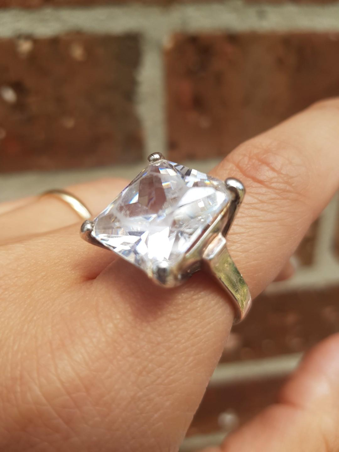 Solid sterling silver and cubic zirconia ring