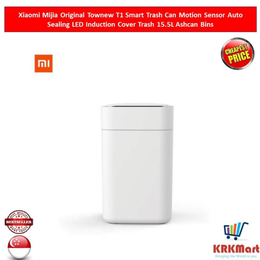 Original Xiaomi Mijia Townew T1 Smart Trash Can Motion Sensor Auto Sealing Led Induction Cover Trash 15.5l Mi Home Ashcan Bins Home Appliances