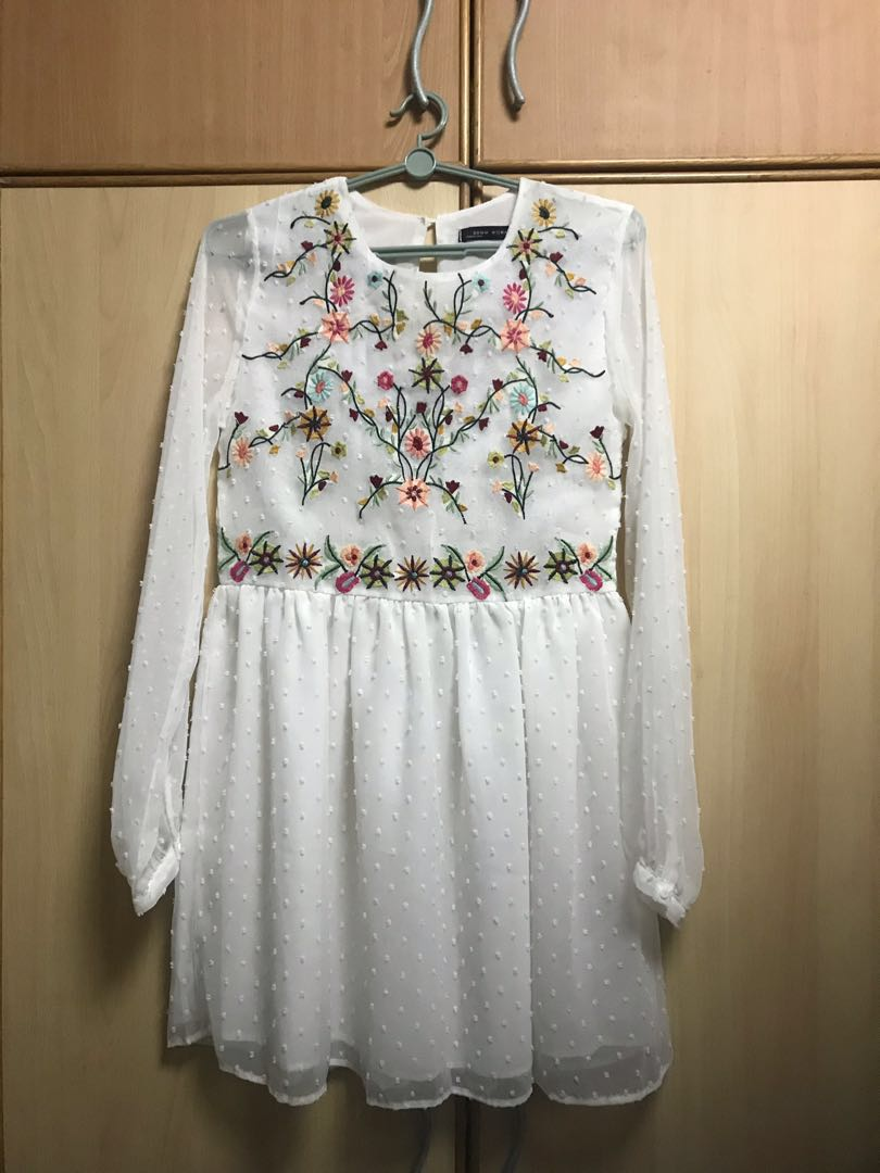 c423d2c8a Zara-inspired Embroidered Dress, Women's Fashion, Clothes, Dresses ...
