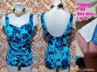 Blue Printed Plus Size Swimwear