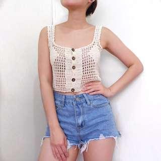 Cream Crochet Crop Top