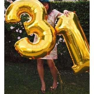 """LARGE 40"""" Golden Foil Balloon Number Digits with Helium to Float at your Party!"""