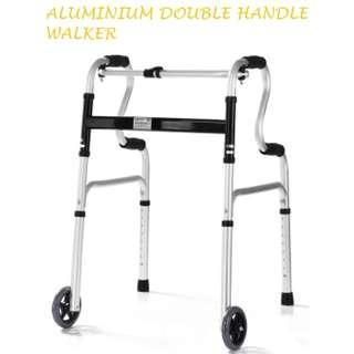 ALUMINIUM WALKER, DOUBLE HANDLE TYPE, WITH FRONT WHEELS