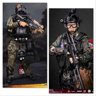 *PO Set* Damtoys 78048 Chinese People's Liberation Army Special Forces & 78055 Marine Force Recon Combat Diver Woodland Marpat Version
