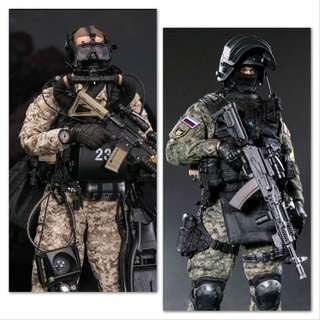 *PO Set* Damtoys 78056 Marine Force Recon Combat Diver Desert Marpat Version & 78058 Russian Spetsnaz MVD SOBR Lynx