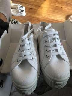 Superga White Platform Shoes