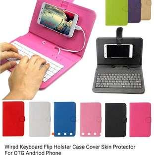 Wired Keyboard Flipped case for andriod otg phone