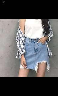 🚚 High Waist Denim Hole Ripped Skirt