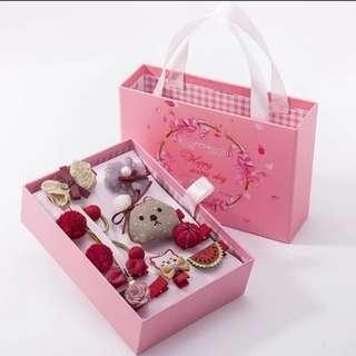 🚚 (現貨不用等)韓國版公主可愛蝴蝶結兒童髮飾,10件套裝禮盒組