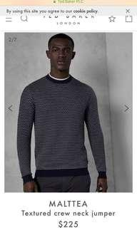 Brand new Ted Baker Men crew neck jumper sweater, size 1, XS