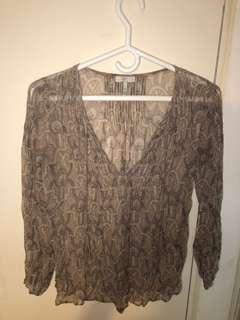 Joie sheer boho peasant top size xs