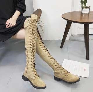 🚚 全新 羅馬綁帶過膝靴 長靴 馬甲靴 馬丁靴