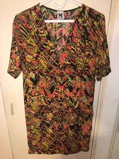 Mission multi georgette oversized silk T-shirt dress size 40
