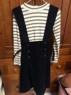 🚚 條紋上衣+麂皮吊帶裙