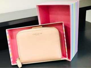 Original COACH Leather Medium Corner Zip Wallet - Pink (Genuine)