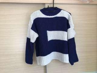 🚚 ➕近新➕藍色厚針織毛衣