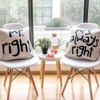 Mr Right & Mrs Always Right Cushion Cover (淨套)