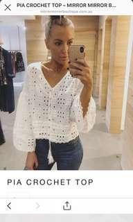 Mirror mirror white crochet boho tassel top brand new size medium
