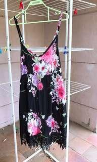 Black floral print summer dress