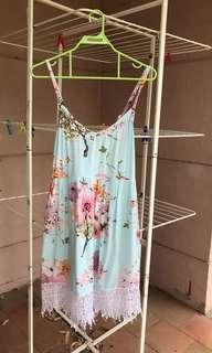 Light green floral print summer dress
