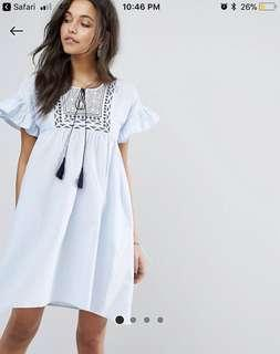 Mango Frill and embroidered smock dress