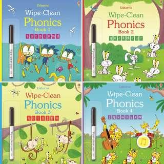 🚚 (BN) Usborne Wipe clean phonics books (set of 4)
