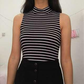 Zalora Striped Highneck Top