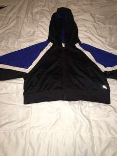 Black blue and white cropped hoodie