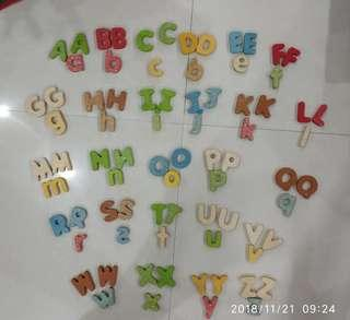 🚚 Wooden Alphabets (2 upper case sets) + 1 lower case set)