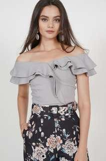 MDS Flounce Ruffled Top in Light Grey