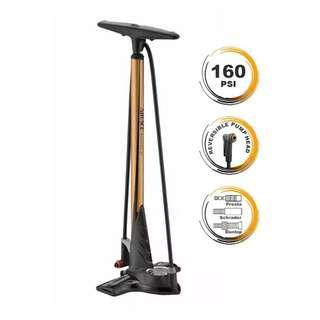 (Promotion!) AIRACE WINPRO Steel floor pump with Entry Level Plastic Clever-Twin-Valve Head (Gold color )