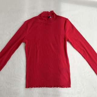 Red Ribbed long sleeve top