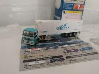 [盒裝]全新超級精細版 已絕版tomytec 1:150 n gague 第4彈三菱貨櫃車 mitsubishi fuso nyk logistics & megacarrier trailer
