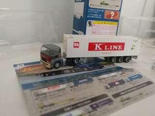 [盒裝]全新超級精細版 已絕版tomytec 1:150 n gague 第4彈三菱貨櫃車 mitsubishi fuso k-line trailer
