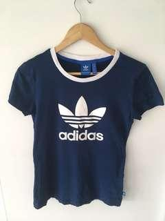 Size 8 UK Navy blue and white Adidas t-shirt