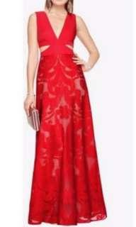 Bcbg red cut out lace gown