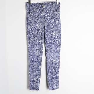 H&M floral blue cotton stretch skinny pants