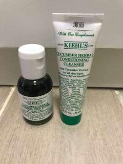 售:Kiehl's 青瓜植物精華潔面乳 30 ml青瓜植物精華爽膚水 40ml