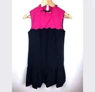 BYSI pink black sz XS/S scallop women dress ruffle party color block cute basic