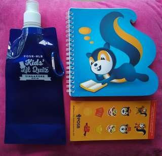🚚 [WTS]  Brand New POSB-NLB Kids Lit Quiz Deflatable Water Bottle Cum Writing Notebook w Squirrel Stickers FOC. Notebk Has Both Blank N Line Page. Suitable for Taking Notes or Diagram in School Eg Science Notes.  See All Pics.