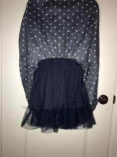 Navy blue 60's style dress with white polka dots