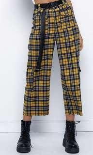 Yellow Plaid Cargo Pants