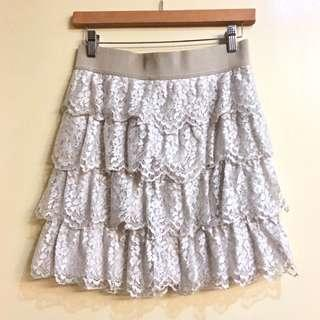 Ann Taylor Women's Oyster Tiered Lace Skirt (Size XS-S)