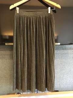 pleated glittered gold mango skirt