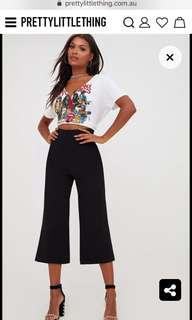 Black High Waisted Scuba Culottes