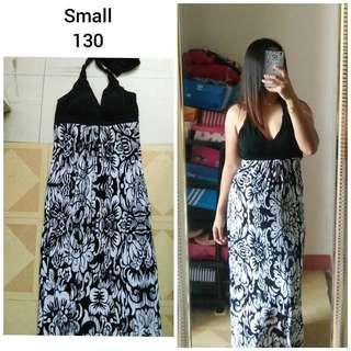 Floral White-Black Maxi Dress